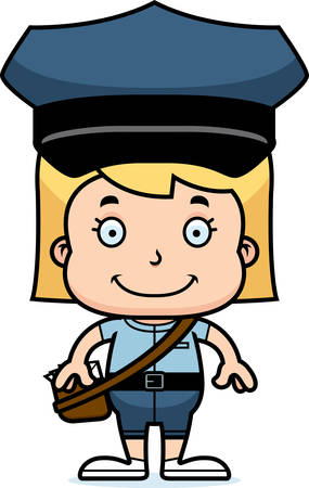 carrier: A cartoon mail carrier girl smiling. Illustration