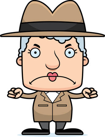 A cartoon detective woman looking angry.