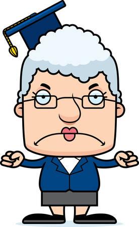 A cartoon teacher woman looking angry.