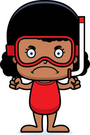 enfant maillot de bain: Une jeune fille de snorkeler de bande dessinée regardant en colère.