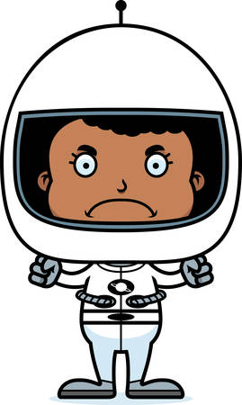 spacesuit: A cartoon astronaut girl looking angry.