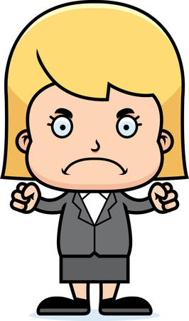 businessperson: A cartoon businessperson girl looking angry.
