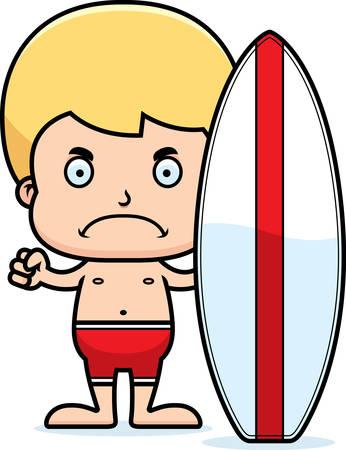 enfant maillot de bain: Un garçon de surfeur de bande dessinée regardant en colère. Illustration