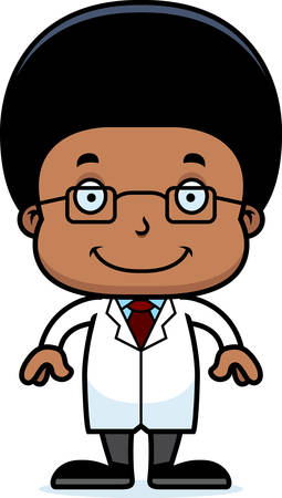 researcher: A cartoon scientist boy smiling. Illustration