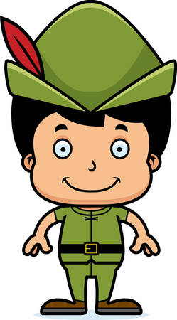 A cartoon Robin Hood boy smiling.