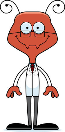 researcher: A cartoon scientist ant smiling.