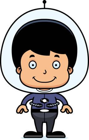 spaceman: A cartoon spaceman boy smiling.