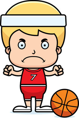 boy basketball: A cartoon basketball player boy looking angry. Illustration