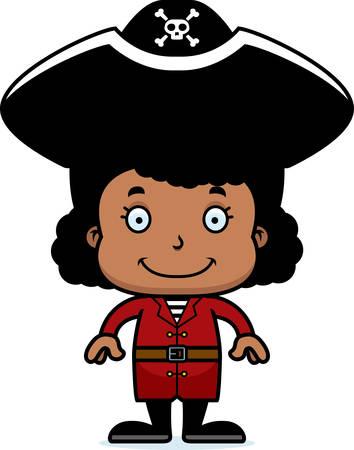 Een cartoon piraat meisje lachend.