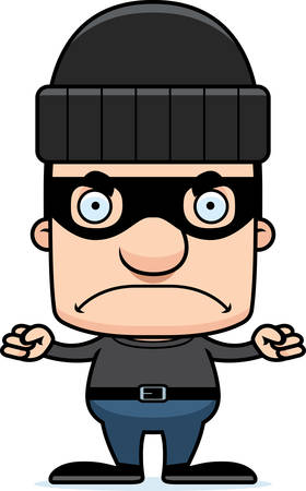 A cartoon thief man looking angry.