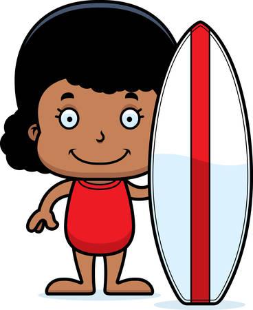 enfant maillot de bain: Une surfeuse de bande dessinée de sourire. Illustration