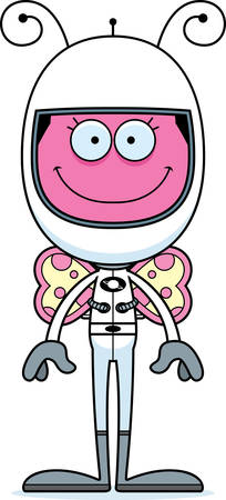 spacesuit: A cartoon astronaut butterfly smiling. Illustration