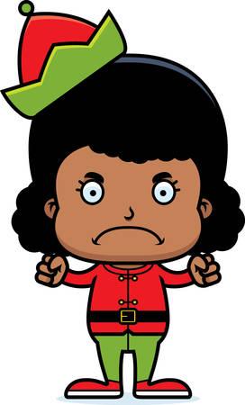 cartoon angry: A cartoon Xmas elf girl looking angry. Illustration