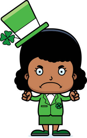 leprechaun girl: A cartoon Irish girl looking angry.