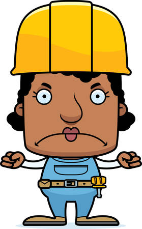 tool belt: A cartoon construction worker woman looking angry.