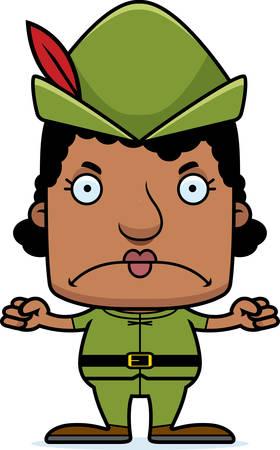 robin hood: A cartoon Robin Hood woman looking angry.