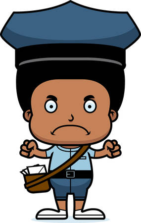 carrier: A cartoon mail carrier boy looking angry.