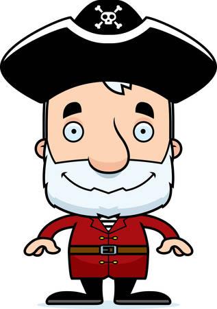 A cartoon pirate man smiling. Illusztráció
