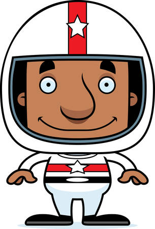 car driver: A cartoon race car driver man smiling.