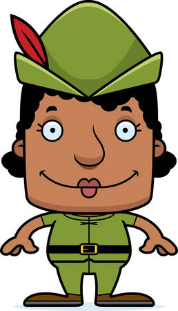A cartoon Robin Hood woman smiling. Çizim