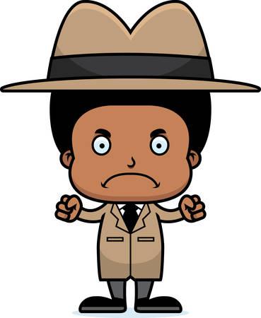 A cartoon detective boy looking angry. Çizim