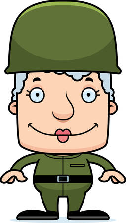 A cartoon soldier woman smiling. Ilustrace