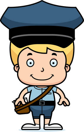mail carrier: A cartoon mail carrier boy smiling.