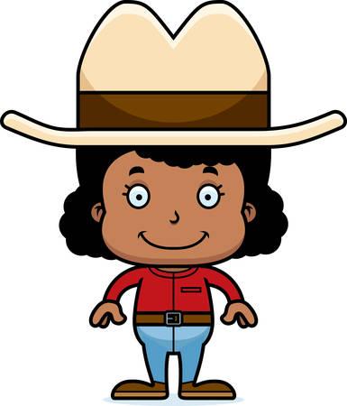 cowboy hat: A cartoon cowboy girl smiling.