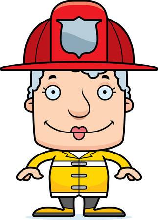 A cartoon firefighter woman smiling.