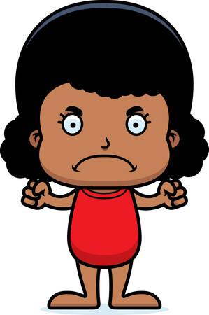 enfant maillot de bain: Une fille de bande dessinée regardant en colère dans un maillot de bain.