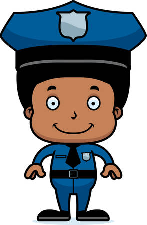 boy smiling: A cartoon police officer boy smiling.