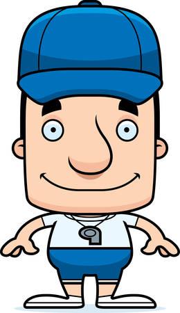 A cartoon coach man smiling.