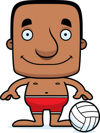 playa caricatura: Un jugador de voleibol playa hombre sonriente de la historieta.