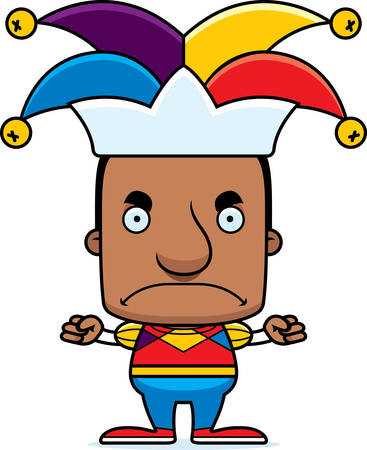 A cartoon jester man looking angry.