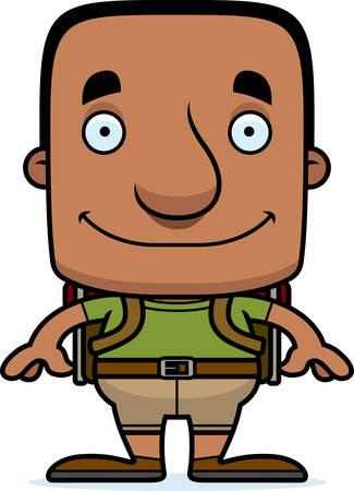 hiker: A cartoon hiker man smiling. Illustration