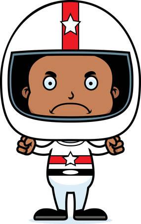 race car driver: A cartoon race car driver boy looking angry. Illustration