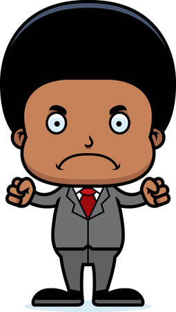 businesspersons: A cartoon businessperson boy looking angry. Illustration