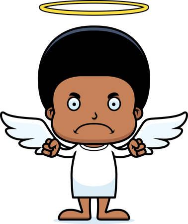 A cartoon angel boy looking angry.