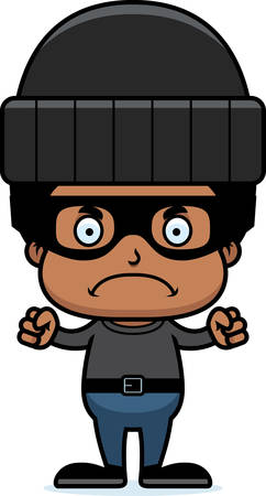 A cartoon thief boy looking angry.