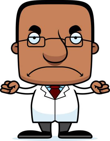 scientist man: A cartoon scientist man looking angry. Illustration
