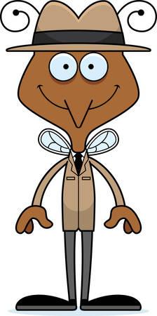A cartoon detective mosquito smiling.