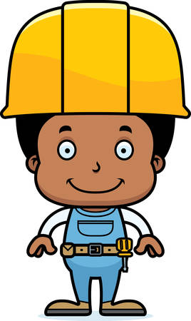 tool belt: A cartoon construction worker boy smiling.