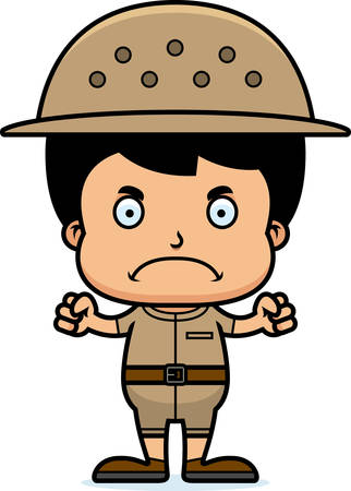 A cartoon zookeeper boy looking angry.