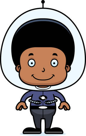 spacesuit: A cartoon spaceman boy smiling.