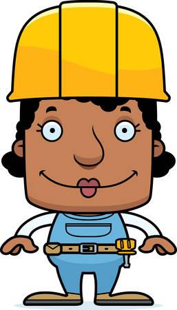 Een cartoon bouwvakker vrouw lachend.