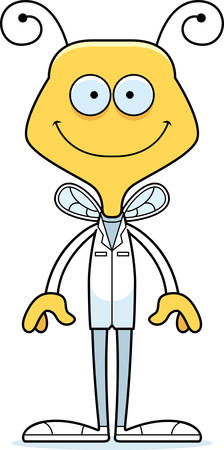 A cartoon doctor bee smiling.