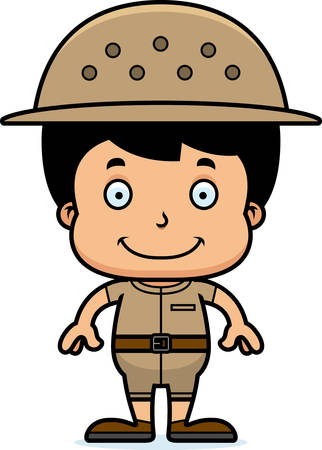 pith: Un empleado del zool�gico ni�o de dibujos animados sonriendo.