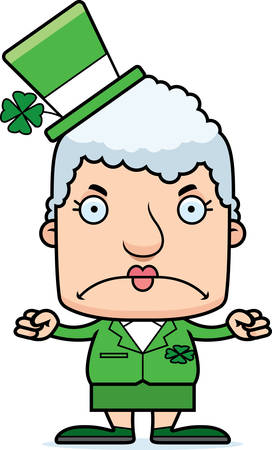 irish woman: A cartoon Irish woman looking angry.