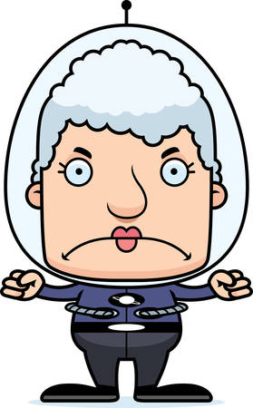 A cartoon spaceman woman looking angry.
