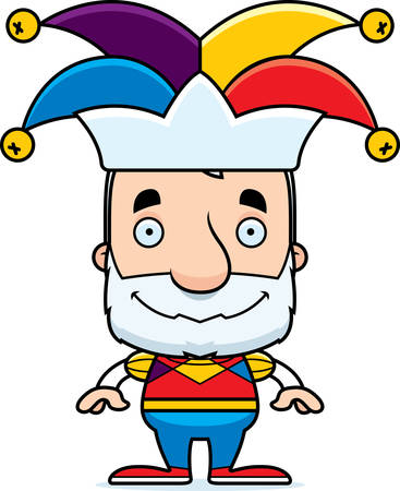 A cartoon jester man smiling.